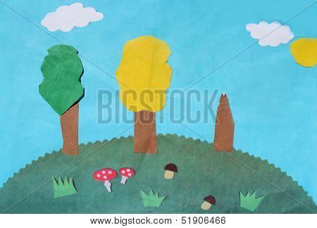 Children's odd job with hill mushrooms and trees