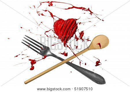 Red Heart, Spoon And Fork