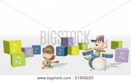 Boy and girl playing music on a band. Acoustic guitar and drum.