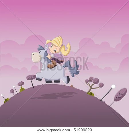 Beautiful little cartoon girl riding on a pony