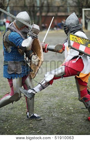 MOSCOW - APRIL 28: Duel of two warriors on Maneuvers East versus West, on April 28, 2013 in Moscow, Russia.  Organizer of event - Paladin fencing center.