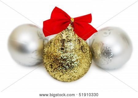 Three New Year's Balls Are Isolated On A White Background