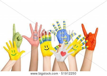 painted children's hands