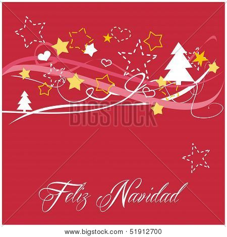 Christmas vector card or invitation for party with Merry Christmas wishes in espanol: Feliz Navidad