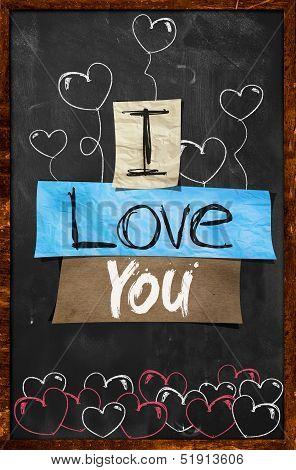 I love You text on Blackboard