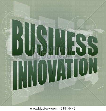 Business Innovation Word On Digital Screen, Mission Control Interface Hi Technology