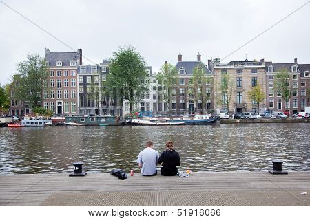 Picknick On The Embankment Of River Amstel