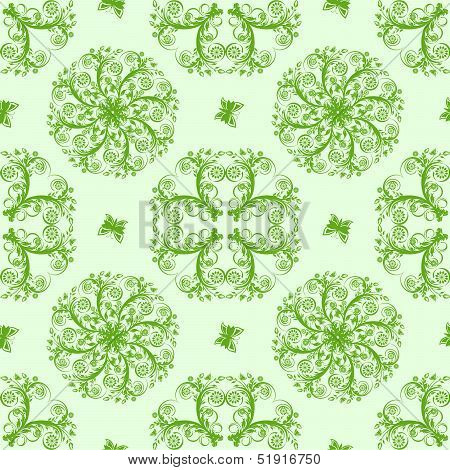 Vector Illustartion Of A Green Seamless Floral Background With Butterflies
