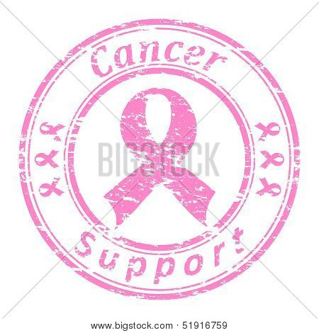 Vector Illustrator Of A Grunge Rubber Stamp With Pink Ribbon And Text (cancer Support Written Inside