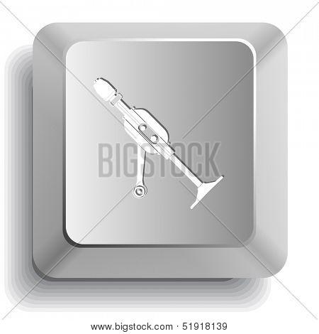 Hand drill. Computer key. Raster illustration.