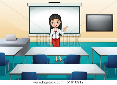 Illustration of a girl in a conference room