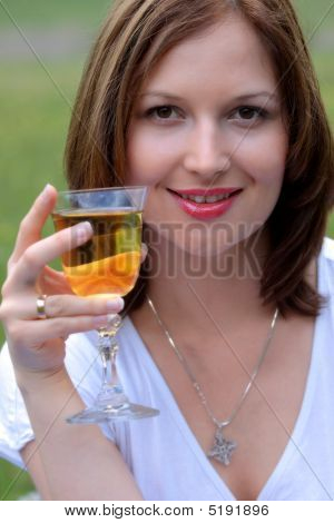 Young Beautiful Woman Drinking Wine Outdoor