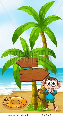 Illustration of a monkey at the beach with a toy standing near the palm tree