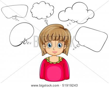 Illustration of a pretty woman with many empty callouts on a white background