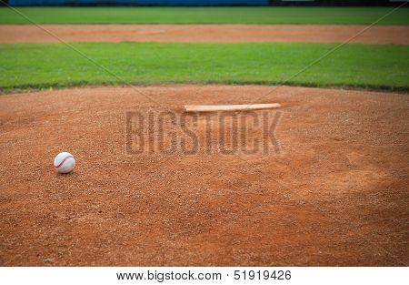 Pitchers Mound with Baseball
