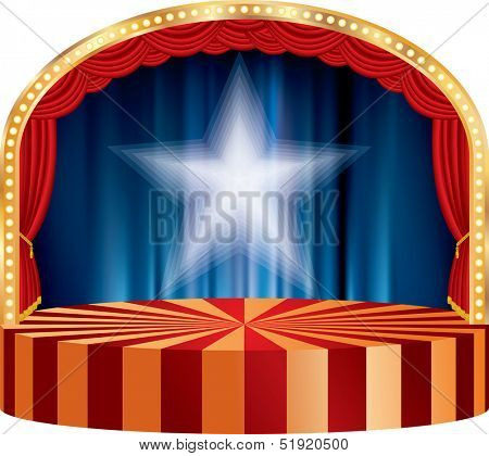 vector circle circus or theater stage with red curtain and white star