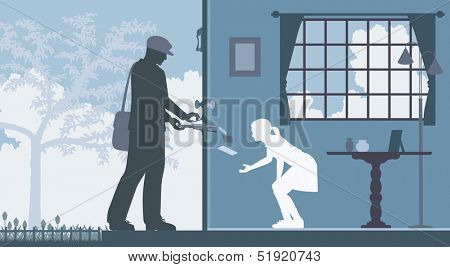 Illustration of a mailman delivering letters to a house with a girl waiting inside