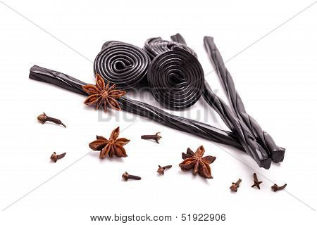 Licorice Candy, Star Anise And Cloves