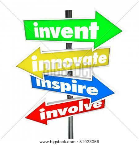 The words Invent, Innovate, Inspire, Involve on colorful road or street signs pointing you in a direction for new ideas and innovation