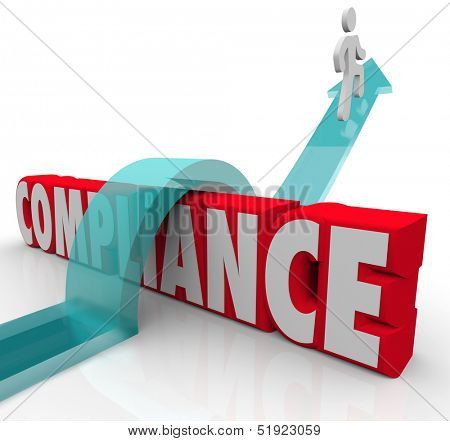 A person riding an arrow over the word Compliance to achieve success by following rules and regulations