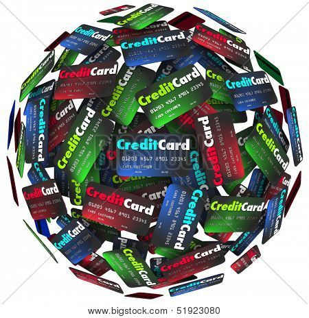 Many credit cards in a sphere or round background to illustrate borrowing money to purchase merchandise that you will pay for later