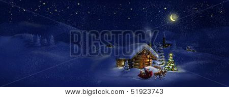 Santa Claus with sledge, presents and deers by log cabin with Christmas tree, scenic village panorama. Copy space, illustration