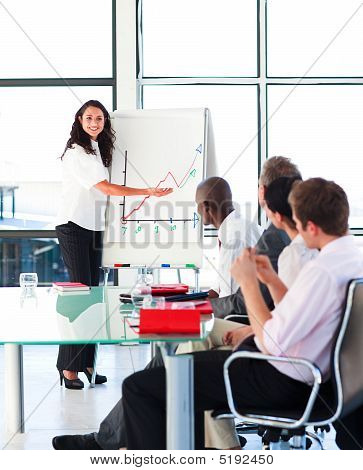 Confident Businesswoman Smiling In A Presentation