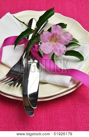 Beautiful Silver Cutlery, Plates And Serviette Napkins For A Modern Twist On Traditional Table Setti