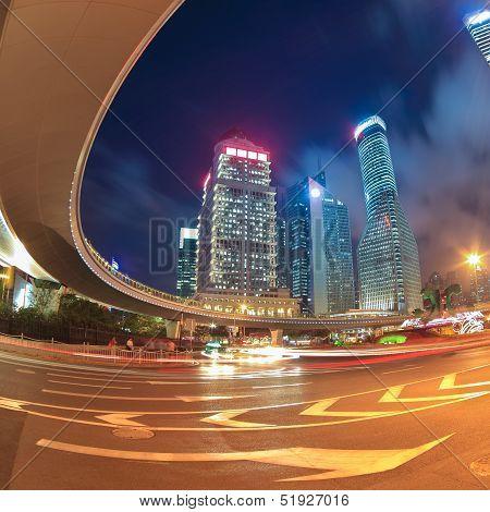 Shanghai City Center At Night