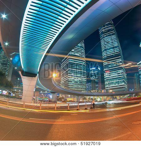 Beautiful Shanghai City Center At Night