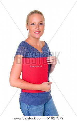 a young woman against white background holding a job application in hand