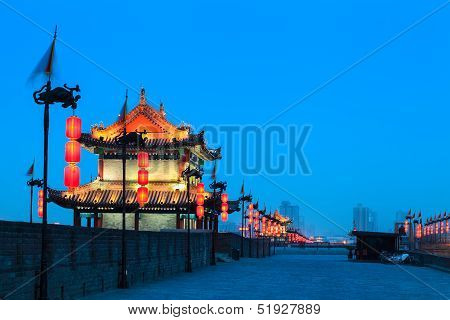 Xian City Wall At Night