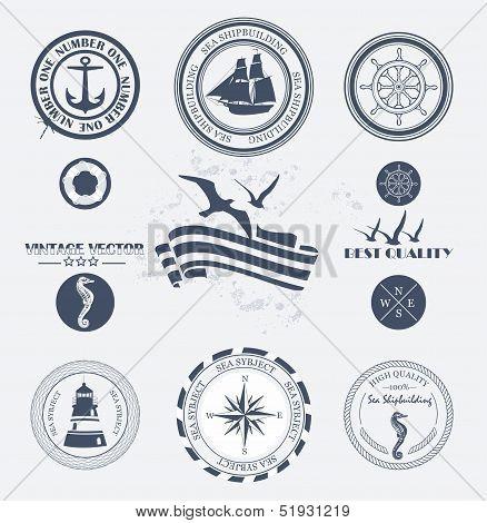 Set of vintage retro nautical badges