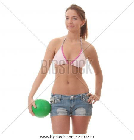 Beautiful Woman Playing Volleyball