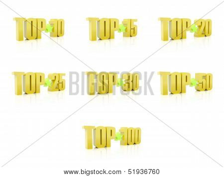 Set of Tops. Golden on white background. 3D illustration.