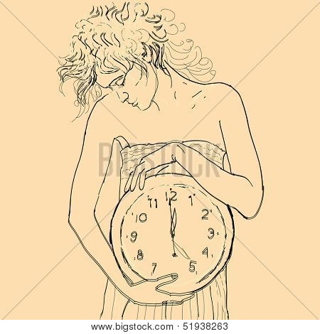 Scrawny girl with big clock in hands. Vector illustration.