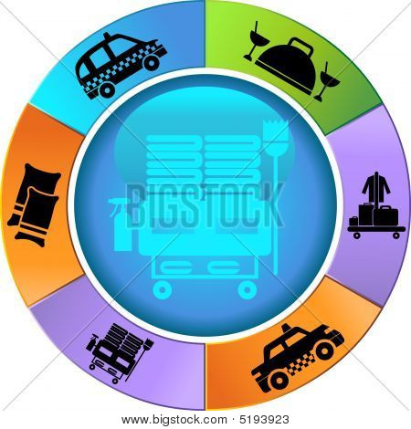 Hotel Service Wheel Icon Set