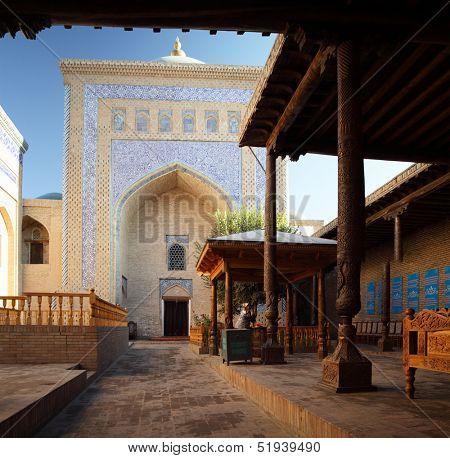 Inner yard of mosque in old city of Ichan Kala. Khiva, Uzbekistan