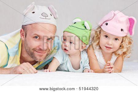 Happy Dad With Children