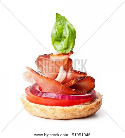delicious prosciutto canape on a white