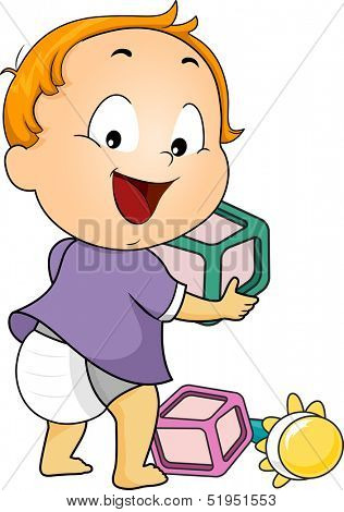 Illustration of a Baby Boy Playing with Wooden Blocks and a Rattle