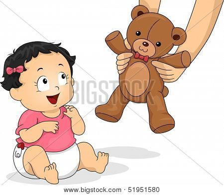 Illustration of a Baby Girl Delighted to be Handed a Teddy Bear