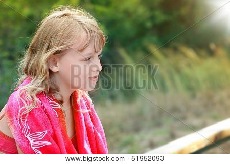 Outdoor Summer Portrait Of Little Blond Girl In Red Shawl