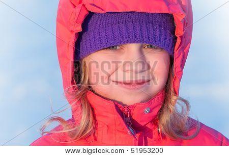Little Ruddy Nice Girl In Winter Outwear With Hood Smiles