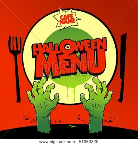 Halloween menu card design with zombie hands.