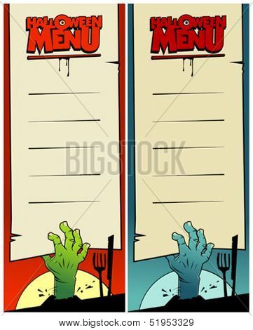 Halloween menu cards set with zombie hands.