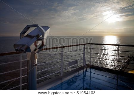 Sunrise At Cruise Deck Ship