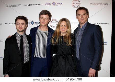 LOS ANGELES - OCT 3:  Daniel Radcliffe, Dane DeHaan, Jennifer Jason Leigh, Michael C. Hall at the
