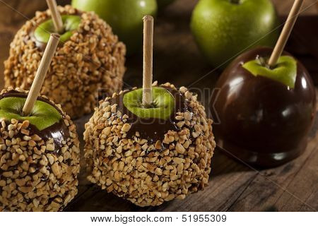 Homemade Caramel Taffy Apple With Peanuts
