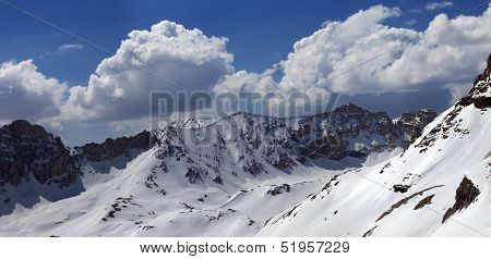 Panorama Of Snowy Mountains In Nice Day